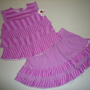 Jelly the Pug Tiered Top & Skirt Set, Girl 4T